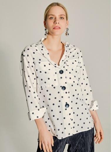 NGSTYLE Puantiyeli Gömlek Beyaz